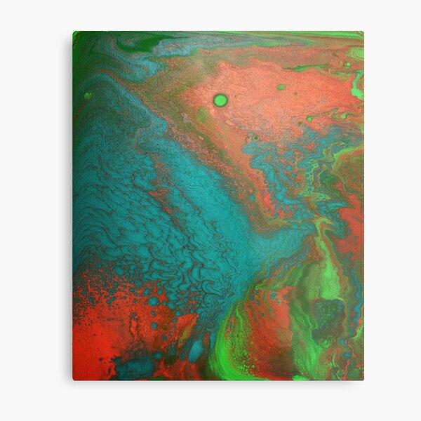 Rusty Jade: Acrylic Pour Painting Metal Print