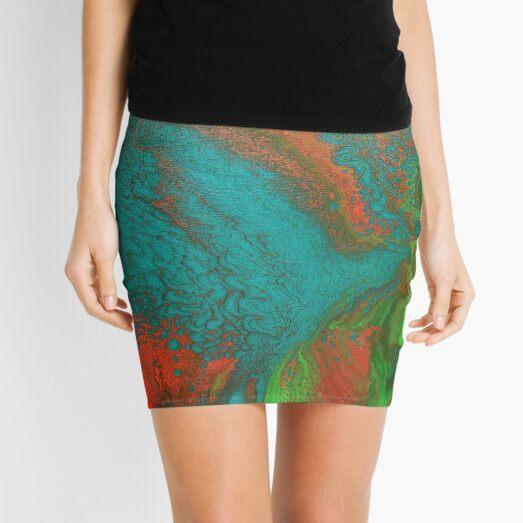 Rusty Jade: Acrylic Pour Painting Mini Skirt