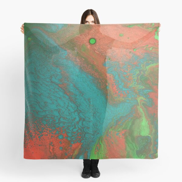 Rusty Jade: Acrylic Pour Painting Scarf