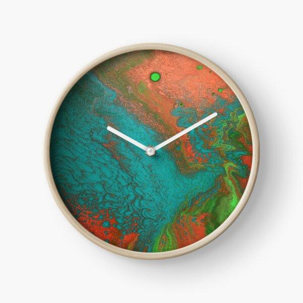 Rusty Jade: Acrylic Pour Painting Clock