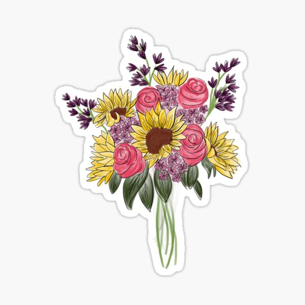 Floral Bouquet 1, Sunflowers and Roses Sticker