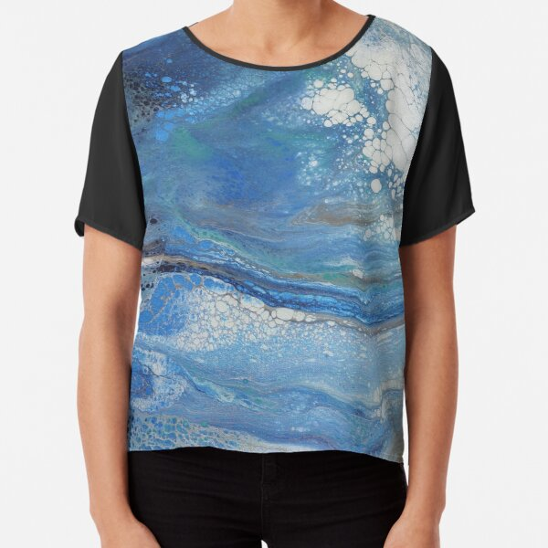 Sea Spray: Acrylic Pour Painting Chiffon Top