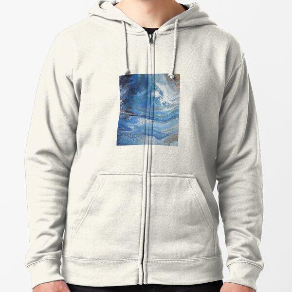 Sea Spray: Acrylic Pour Painting Zipped Hoodie