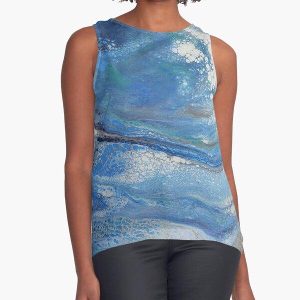 Sea Spray: Acrylic Pour Painting Sleeveless Top