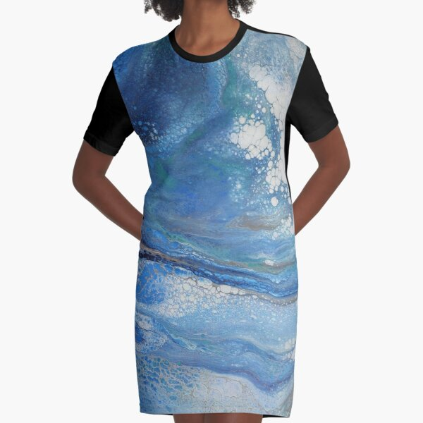 Sea Spray: Acrylic Pour Painting Graphic T-Shirt Dress