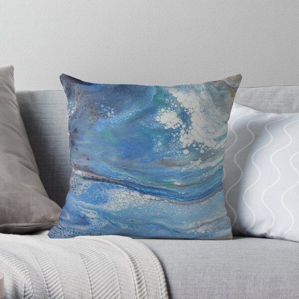 Sea Spray: Acrylic Pour Painting Throw Pillow