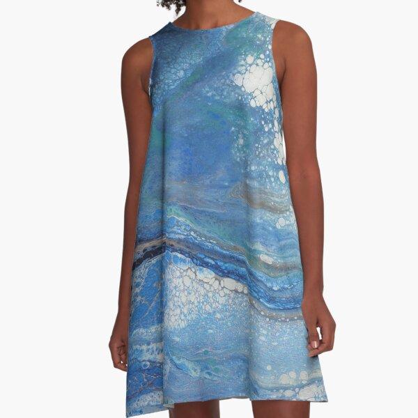 Sea Spray: Acrylic Pour Painting A-Line Dress