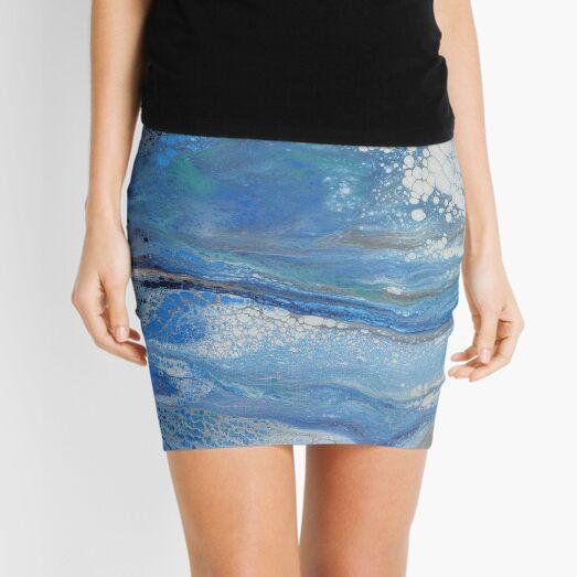 Sea Spray: Acrylic Pour Painting Mini Skirt