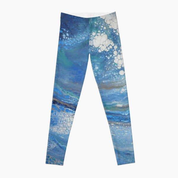 Sea Spray: Acrylic Pour Painting Leggings