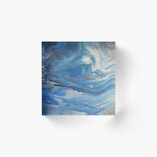 Sea Spray: Acrylic Pour Painting Acrylic Block