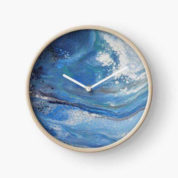 Sea Spray: Acrylic Pour Painting Clock