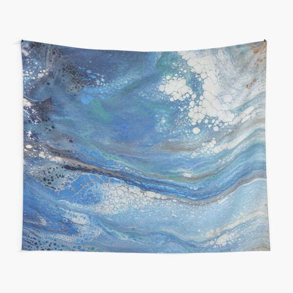 Sea Spray: Acrylic Pour Painting Tapestry