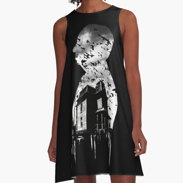 Alfred Hitchcock Collage A-Line Dress