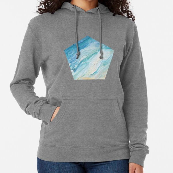 Calm Seas: Acrylic Pour Painting Lightweight Hoodie