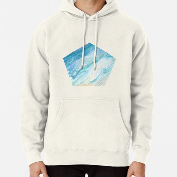 Calm Seas: Acrylic Pour Painting Pullover Hoodie