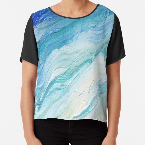 Calm Seas: Acrylic Pour Painting Chiffon Top