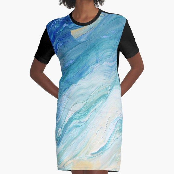 Calm Seas: Acrylic Pour Painting Graphic T-Shirt Dress