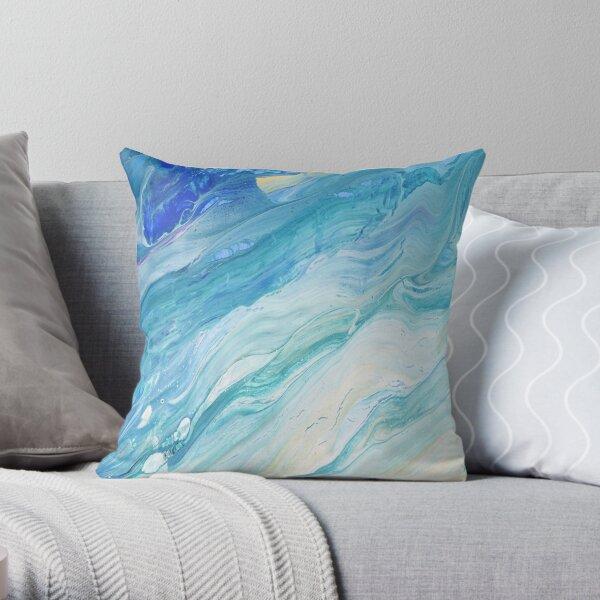 Calm Seas: Acrylic Pour Painting Throw Pillow