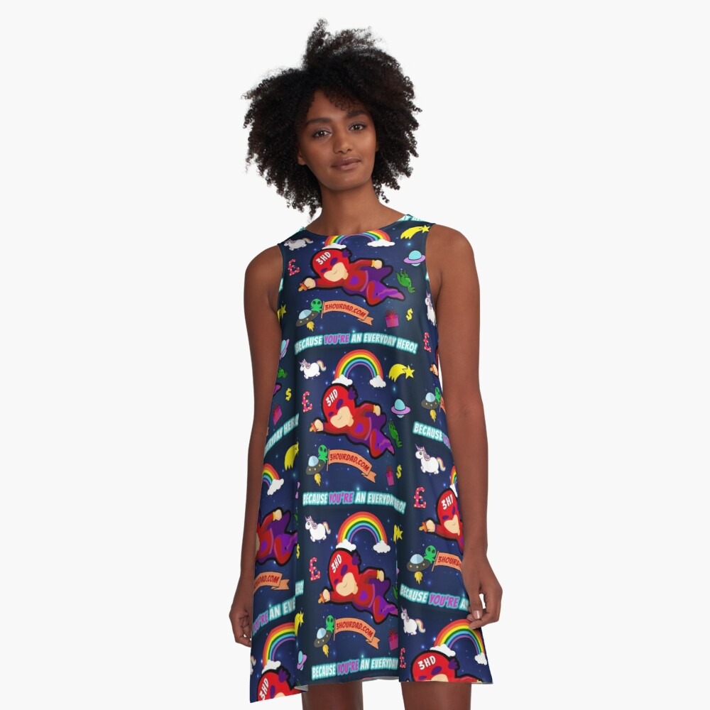 The Random Act Of Kindness revolution is coming 3 Hour Dad Start the 3hourlution! Unisex Because you are everyday hero! Unicorn, Superhero, Dinosaur, Gift, Rainbow, UFO combo!! A-Line Dress Front
