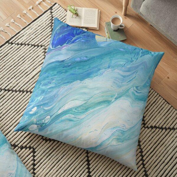Calm Seas: Acrylic Pour Painting Floor Pillow
