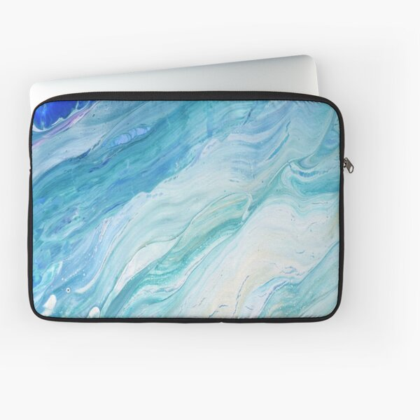 Calm Seas: Acrylic Pour Painting Laptop Sleeve