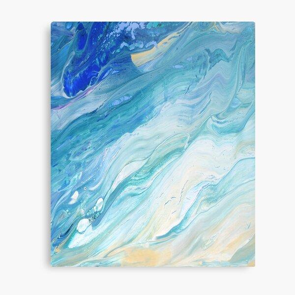 Calm Seas: Acrylic Pour Painting Metal Print