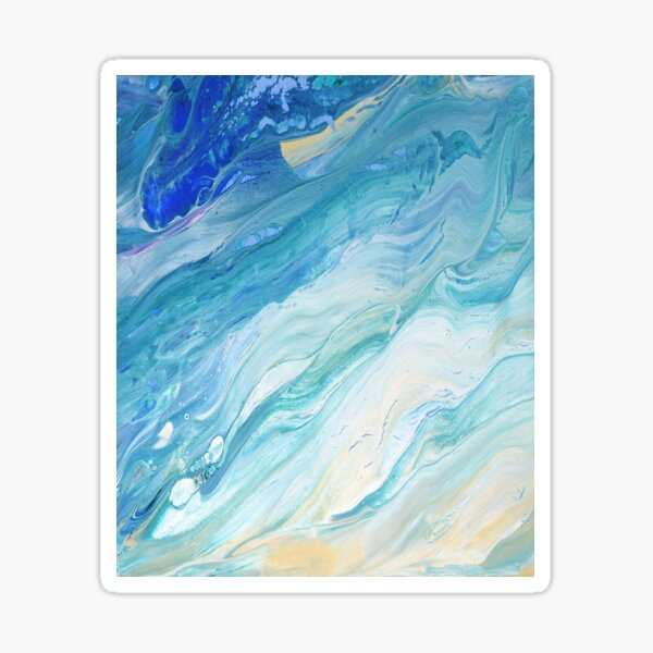 Calm Seas: Acrylic Pour Painting Sticker