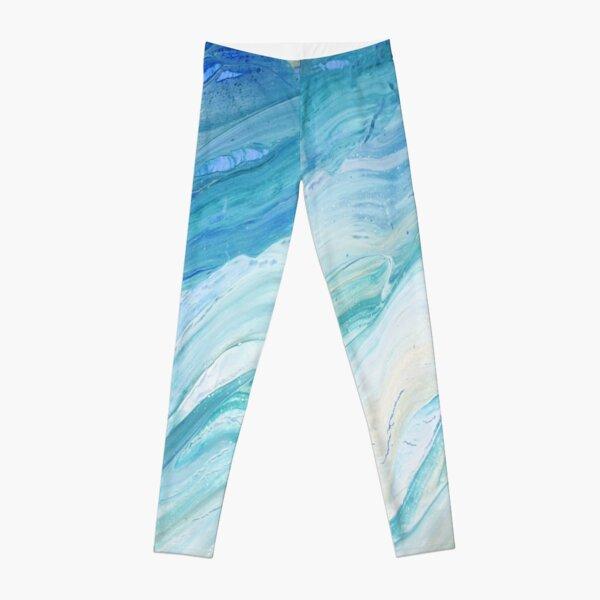 Calm Seas: Acrylic Pour Painting Leggings