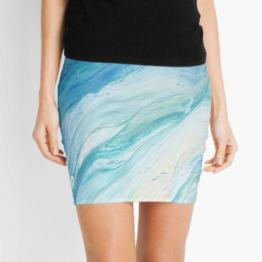 Calm Seas: Acrylic Pour Painting Mini Skirt