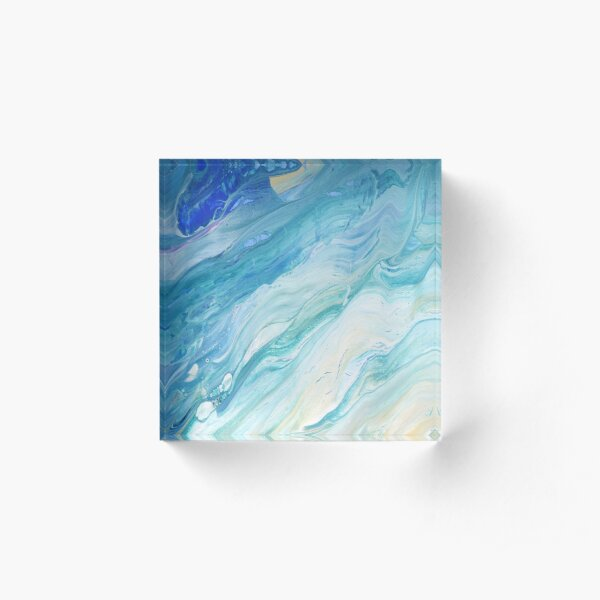 Calm Seas: Acrylic Pour Painting Acrylic Block