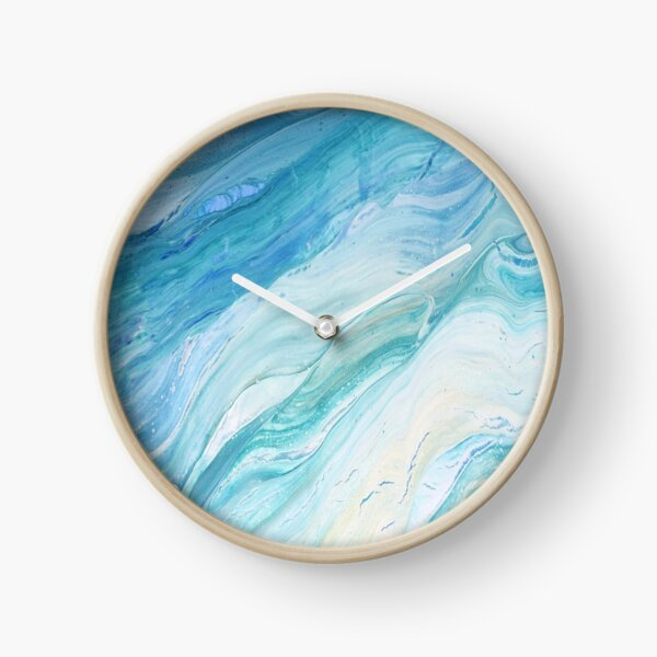 Calm Seas: Acrylic Pour Painting Clock