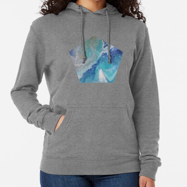 Dancing Tides: Acrylic Pour Painting Lightweight Hoodie