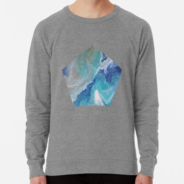 Dancing Tides: Acrylic Pour Painting Lightweight Sweatshirt