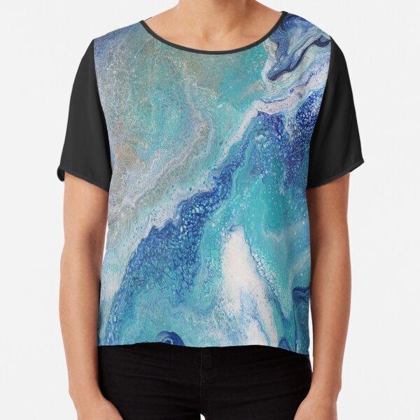 Dancing Tides: Acrylic Pour Painting Chiffon Top