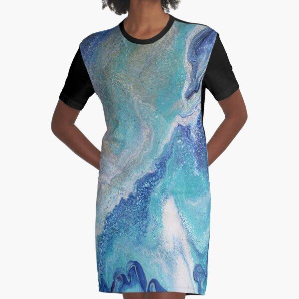 Dancing Tides: Acrylic Pour Painting Graphic T-Shirt Dress
