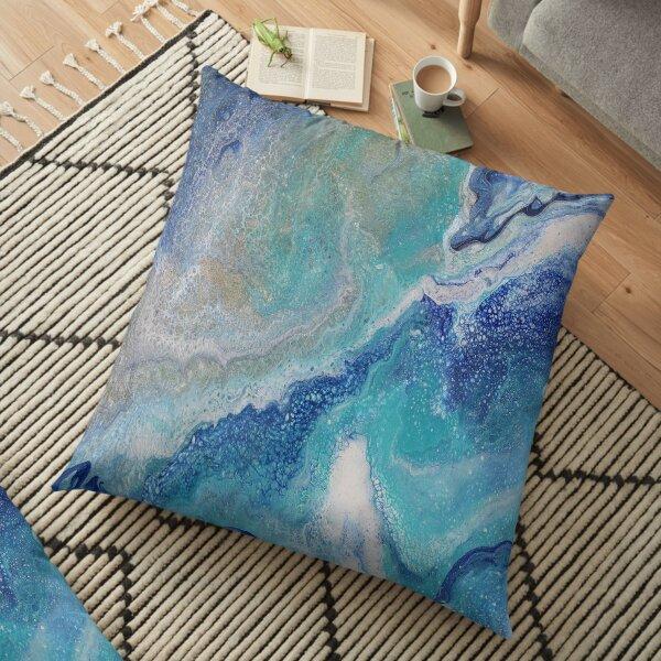 Dancing Tides: Acrylic Pour Painting Floor Pillow