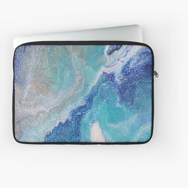 Dancing Tides: Acrylic Pour Painting Laptop Sleeve