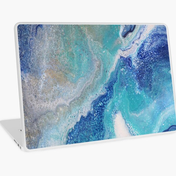 Dancing Tides: Acrylic Pour Painting Laptop Skin