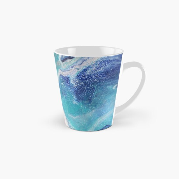 Dancing Tides: Acrylic Pour Painting Tall Mug