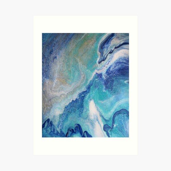 Dancing Tides: Acrylic Pour Painting Art Print