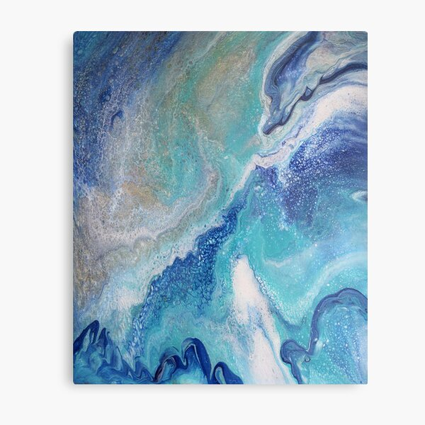 Dancing Tides: Acrylic Pour Painting Metal Print