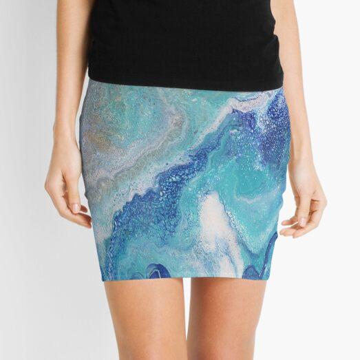 Dancing Tides: Acrylic Pour Painting Mini Skirt