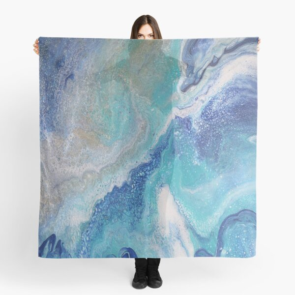 Dancing Tides: Acrylic Pour Painting Scarf