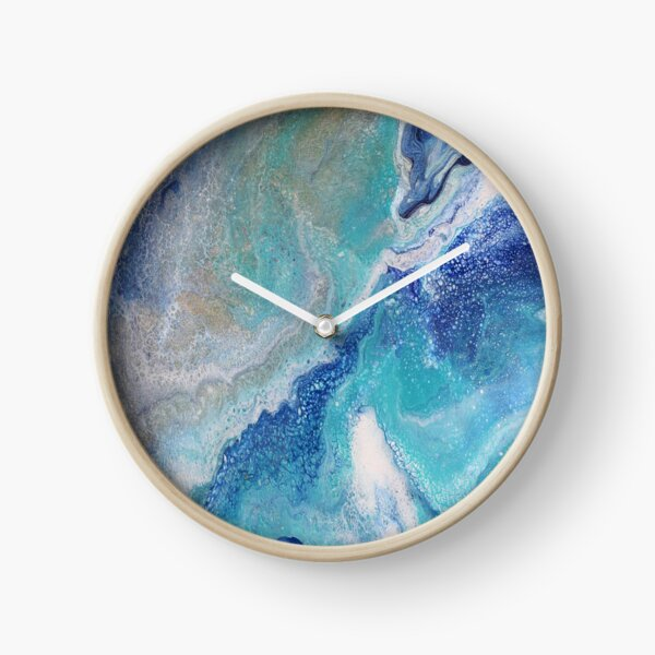Dancing Tides: Acrylic Pour Painting Clock