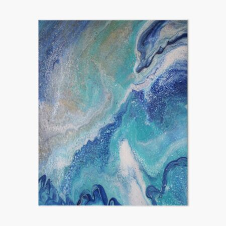 Dancing Tides: Acrylic Pour Painting Art Board Print