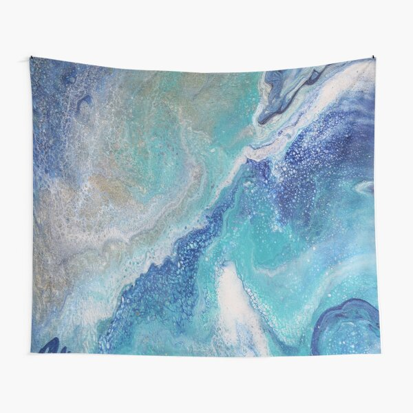 Dancing Tides: Acrylic Pour Painting Tapestry