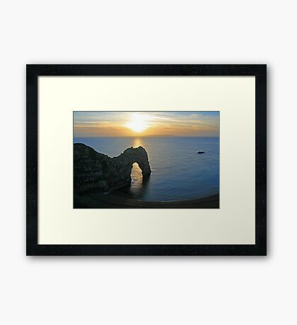 Sunset over Durdle Door Framed Print