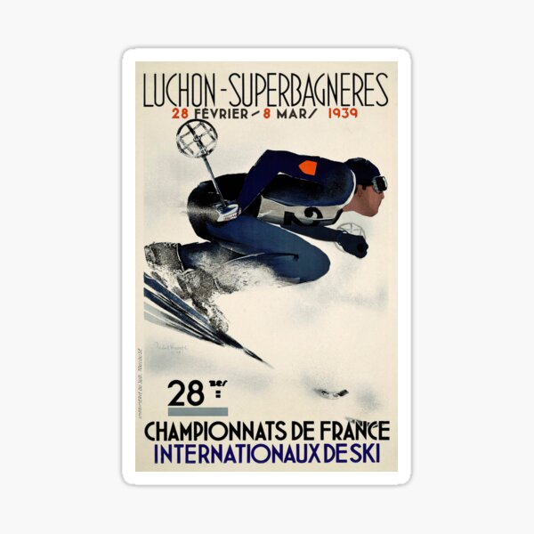 Dynamic French Vintage Ski advert from 1939 Sticker