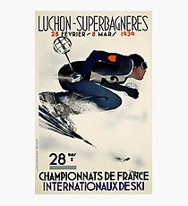 French Vintage Ski advert from 1939 Photographic Print