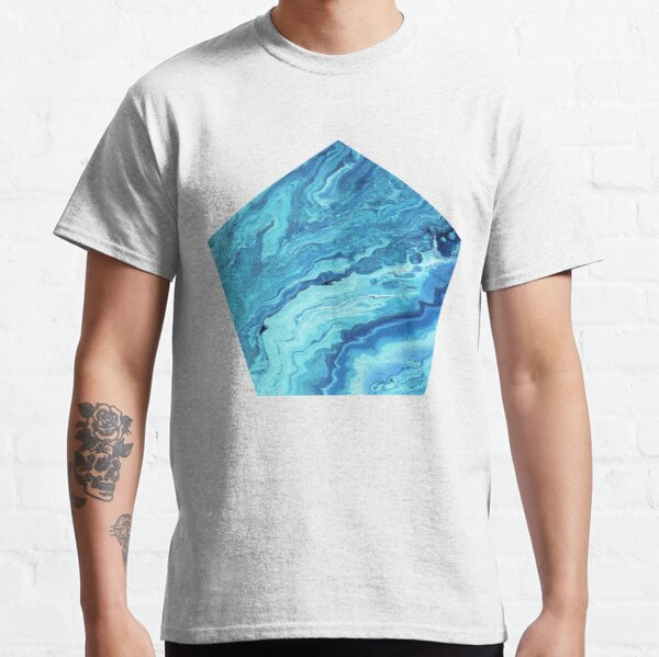 Teal Geode: Acrylic Pour Painting Classic T-Shirt